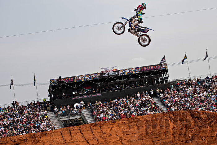 Clinton Moore of Australia performs at the finals of the Red Bull X-Fighters World Tour at the Lawns of the Union Buildings in Pretoria, South Africa on September 12 2015.