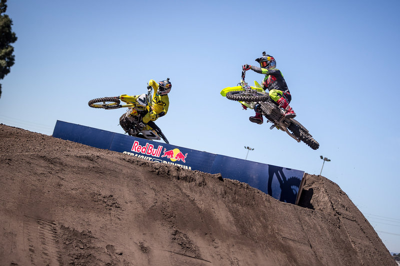 James Stewart (L) and Ken Roczen (R) qualifying at Red Bull Straight Rhythm at Fairplex at Pomona on 9th of October, 2015 in Pomona, CA USA.