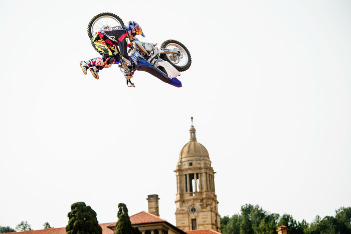 Tom Pages of France performs during the finals of the fourth stage of the Red Bull X-Fighters World Tour in Pretoria, South Africa on September 12, 2015.